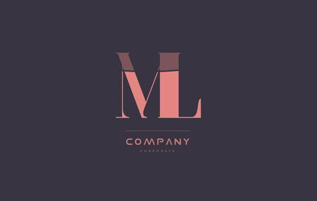 ml: ml m l vintage retro pink alphabet company blue grey letter logo design creative vector icon template Illustration