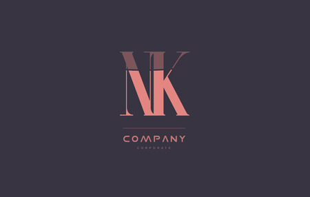 nk n k vintage retro pink alphabet company blue grey letter logo design creative vector icon template Illusztráció