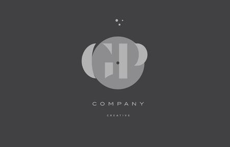 gp g p  grey modern stylish alphabet dot dots eps company letter logo design vector icon template Illustration