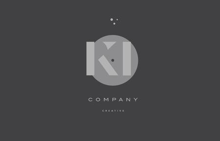 ki k i  grey modern stylish alphabet dot dots eps company letter logo design vector icon template