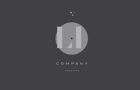 LI grey modern stylish alphabet dot dots eps company letter logo design vector icon template