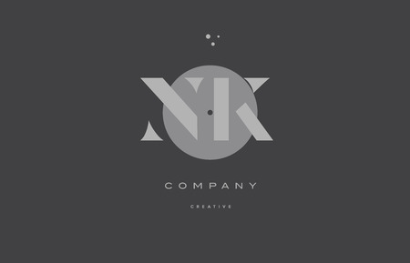 Nk n k  grey modern stylish alphabet dot dots  company letter logo design vector icon template Illusztráció