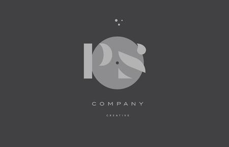Ps p s  grey modern stylish alphabet dot dots company letter logo design vector icon template Illustration