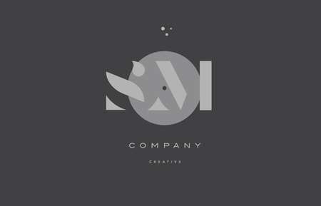 sm s m  grey modern stylish alphabet dot dots eps company letter logo design vector icon template