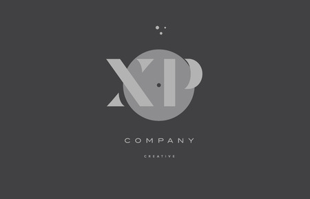 xp x p  grey modern stylish alphabet dot dots  company letter logo design vector icon template