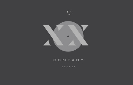 XX x x  grey modern stylish alphabet dot dots eps company letter logo design vector icon template