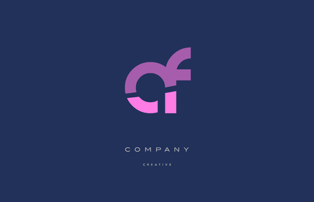 af a f  pink blue pastel modern abstract alphabet company logo design vector icon template