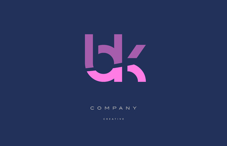 bk b k  pink blue pastel modern abstract alphabet company logo design vector icon template Illustration