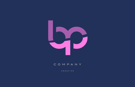 bp b p  pink blue pastel modern abstract alphabet company logo design vector icon template