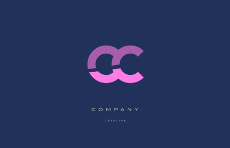 cc: cc c c  pink blue pastel modern abstract alphabet company logo design vector icon template