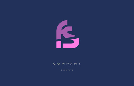 fs f s  pink blue pastel modern abstract alphabet company logo design vector icon template Ilustração