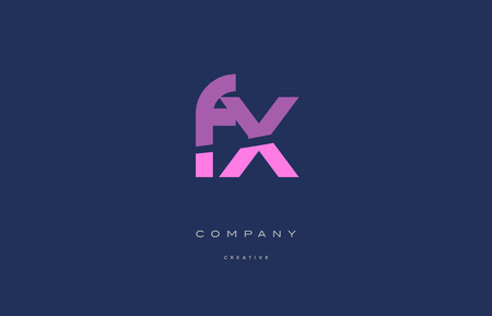 fx: fx f x  pink blue pastel modern abstract alphabet company logo design vector icon template Illustration