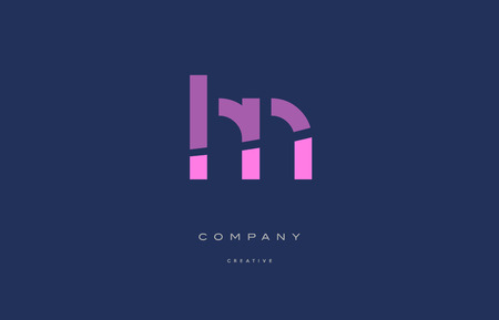 hn: hn h n  pink blue pastel modern abstract alphabet company logo design vector icon template