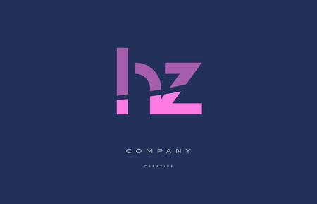 hz h z  pink blue pastel modern abstract alphabet company logo design vector icon template Illusztráció