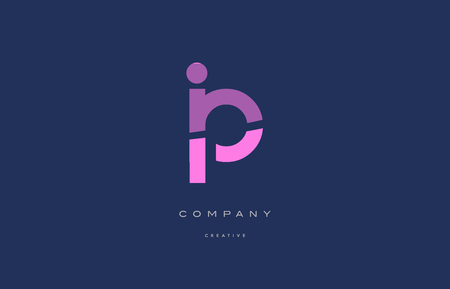 Ip i p  pink blue pastel modern abstract alphabet company logo design vector icon template