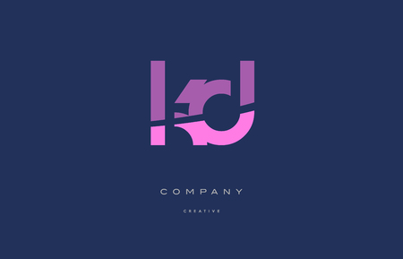 kd k d pink blue pastel modern abstract alphabet company logo design vector icon template