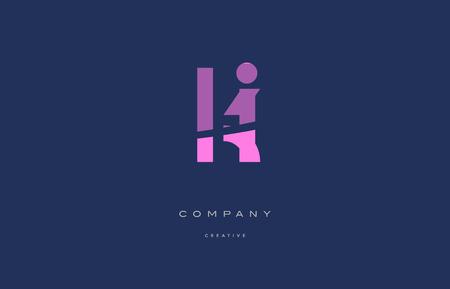 Ki k i  pink blue pastel modern abstract alphabet company logo design vector icon template Illustration