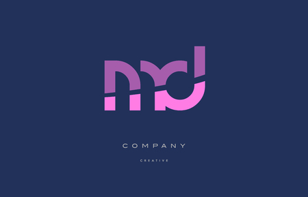 Md m d  pink blue pastel modern abstract alphabet company logo design vector icon template 向量圖像