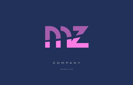 mz m z pink blue pastel modern abstract alphabet company logo design vector icon template