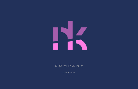 Nk n k  pink blue pastel modern abstract alphabet company logo design vector icon template