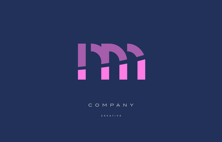 Nm n m  pink blue pastel modern abstract alphabet company logo design vector icon template