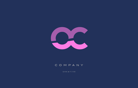 oc: Oc o c  pink blue pastel modern abstract alphabet company logo design vector icon template