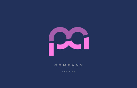 Pa p a  pink blue pastel modern abstract alphabet company logo design vector icon template