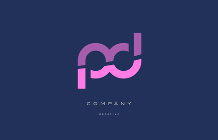 Pd p d  pink blue pastel modern abstract alphabet company logo design vector icon template