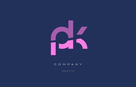 pk p k pink blue pastel modern abstract alphabet company logo design vector icon template