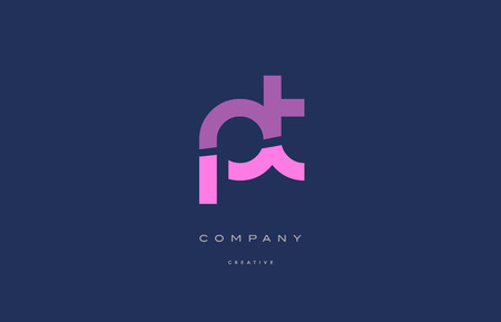 Pt p t pink blue pastel modern abstract alphabet company logo design vector icon template