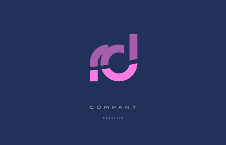 rd: Rd r d  pink blue pastel modern abstract alphabet company logo design vector icon template Illustration
