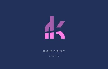 Rk r k pink blue pastel modern abstract alphabet company logo design vector icon template Logó