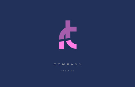 Rt r t pink blue pastel modern abstract alphabet company logo design vector icon template