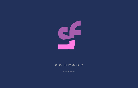 Sf s f  pink blue pastel modern abstract alphabet company logo design vector icon template