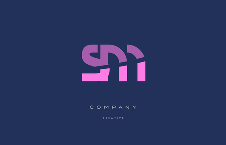 sm s m  pink blue pastel modern abstract alphabet company logo design vector icon template