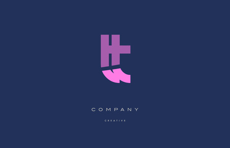 Tt t pink blue pastel modern abstract alphabet company logo design vector icon template