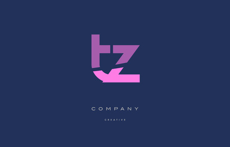 Tz t z pink blue pastel modern abstract alphabet company logo design vector icon template