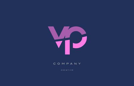 vp: Vp v p  pink blue pastel modern abstract alphabet company logo design vector icon template