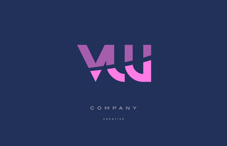 vw: vw v w  pink blue pastel modern abstract alphabet company logo design vector icon template Illustration