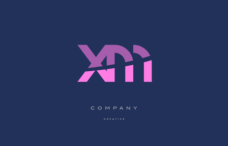 xm: Xm x m  pink blue pastel modern abstract alphabet company logo design vector icon template