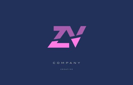 Zv z v  pink blue pastel modern abstract alphabet company logo design vector icon template
