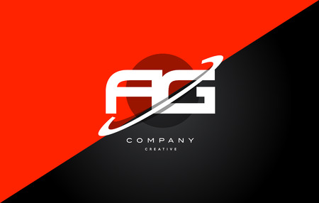 Ag a g  red black white technology swoosh alphabet company letter logo design vector icon template