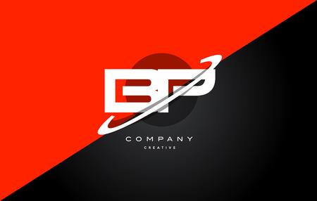 Bp b p  red black white technology swoosh alphabet company letter logo design vector icon template