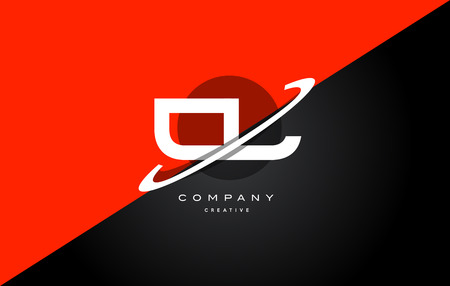 cl c l red black white technology swoosh alphabet company letter logo design vector icon template Logó