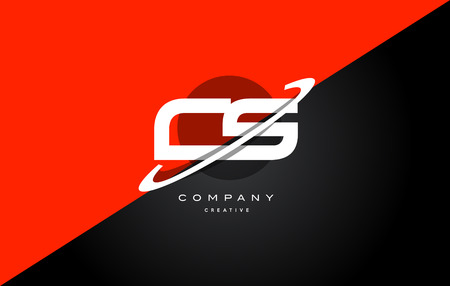 cs: Cs c s  red black white technology swoosh alphabet company letter logo design vector icon template
