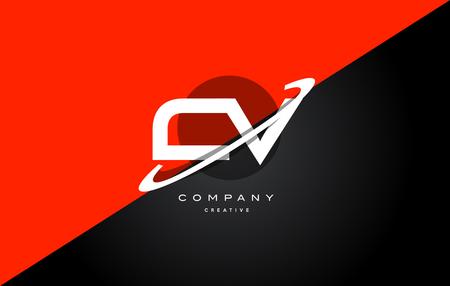 cv c v  red black white technology swoosh alphabet company letter logo design vector icon template Ilustrace