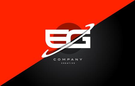 eg: eg e g  red black white technology swoosh alphabet company letter logo design vector icon template