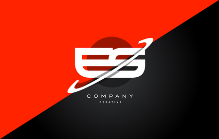 Es e s red black white technology swoosh alphabet company letter logo design vector icon template Logó