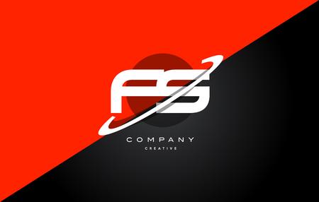 fs f s  red black white technology swoosh alphabet company letter logo design vector icon template