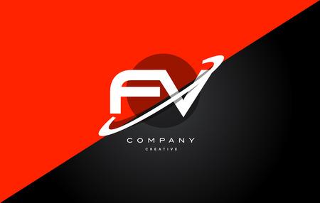 fv: Fv f v  red black white technology swoosh alphabet company letter logo design vector icon template Illustration